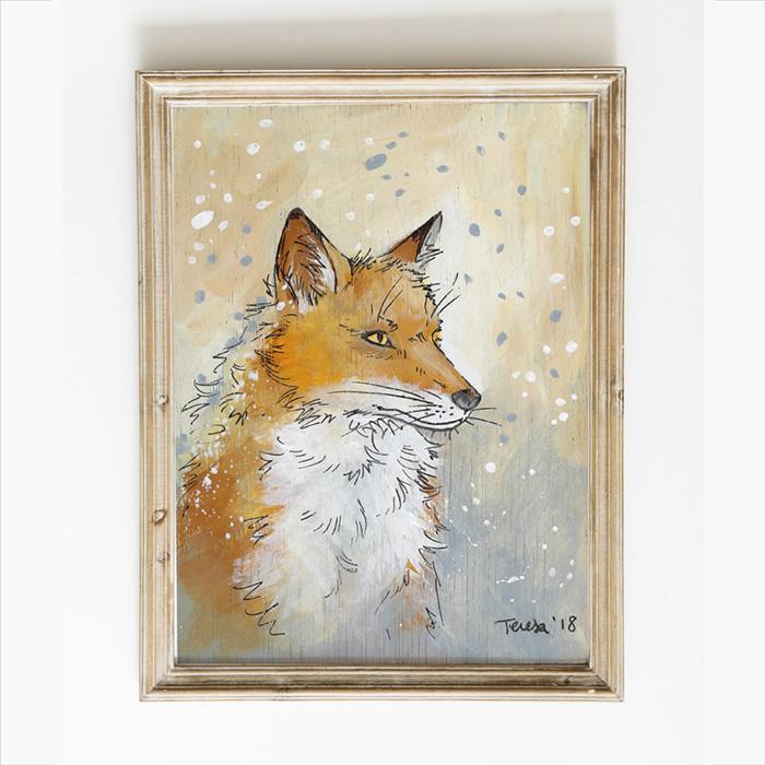 Ilustración naturalista de un zorro, pintura satinada sobre madera