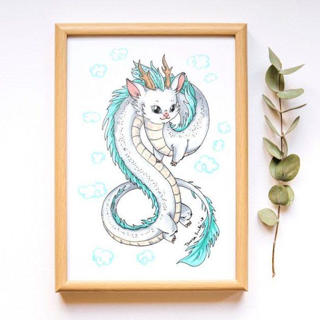 Ilustración infantil dragón, ilustración original, tinta y rotuladores COPIC.