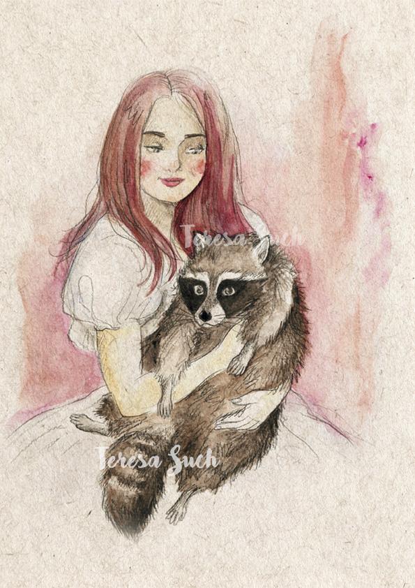 Ilustración retrato mujer con mapache, técnica tradicional, ilustración a la acuarela, textura de papel reciclado