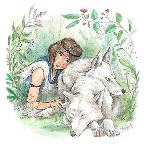 Ilustración retrato mujer con lobos, técnica tradicional, ilustración a la acuarela