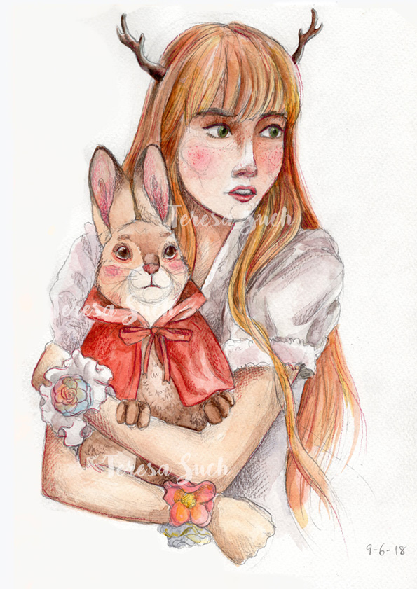 Ilustración retrato mujer con conejo, técnica tradicional, ilustración a la acuarela