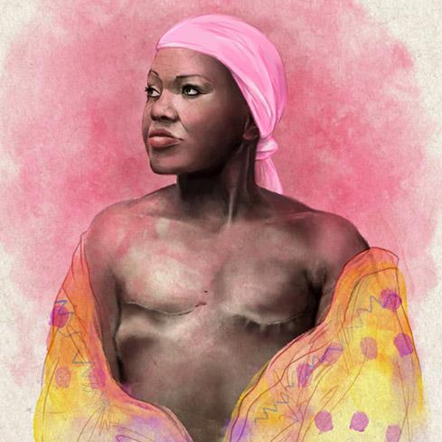 Ilustración retrato mujer, técnica digital con textura de papel reciclado