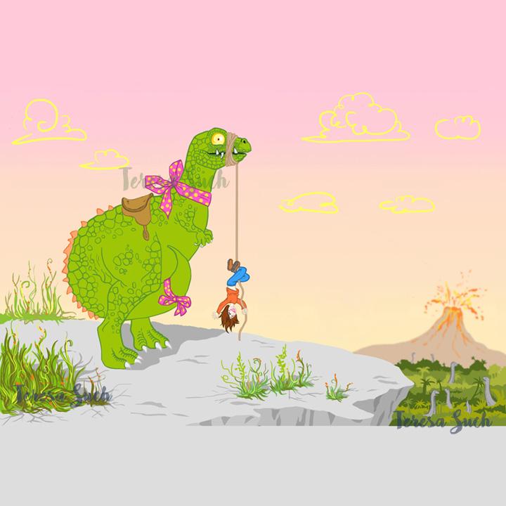 Ilustración infantil, ilustración infantil dinosaurio, ilustración digital