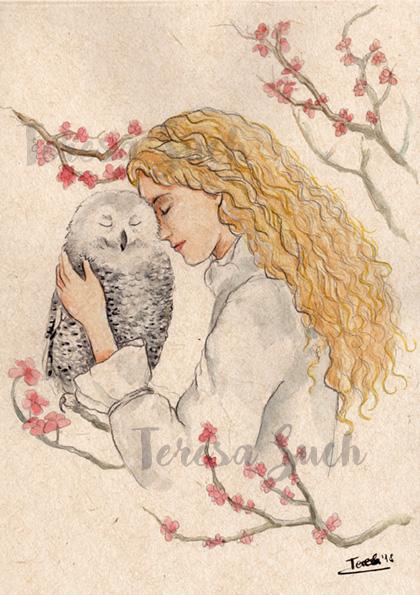 Ilustración retrato mujer con búho, técnica tradicional, ilustración a la acuarela, textura de papel reciclado