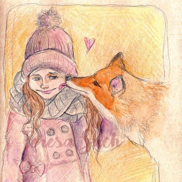 Boceto, ilustración infantil de niña y zorro, lápices de colores