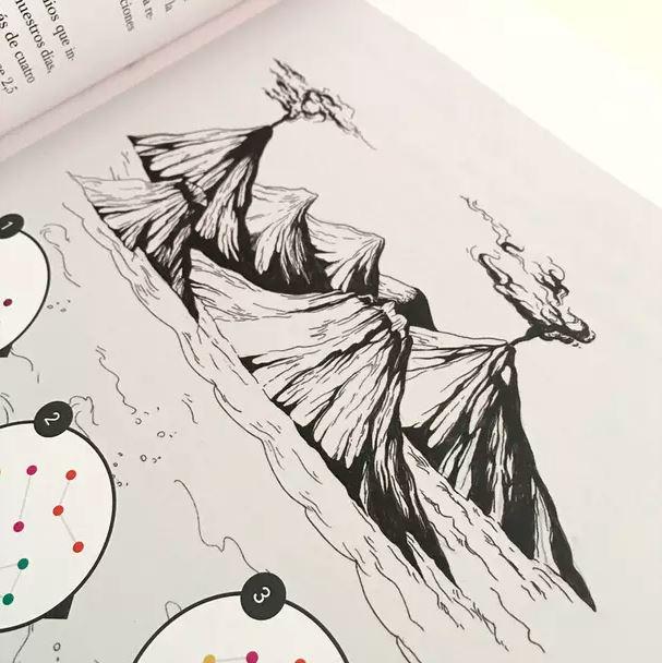 ilustración hecha con tinta, ilustración de volvanes. Ilustración para LaBullipedia