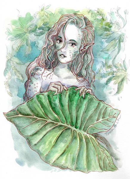 Ilustración de una sirena con zorro, técnica tradicional, ilustración a la acuarela, tinta y grafito, basada en una fotografía