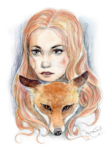 Ilustración retrato mujer con zorro, técnica tradicional, ilustración a la acuarela, tinta y grafito