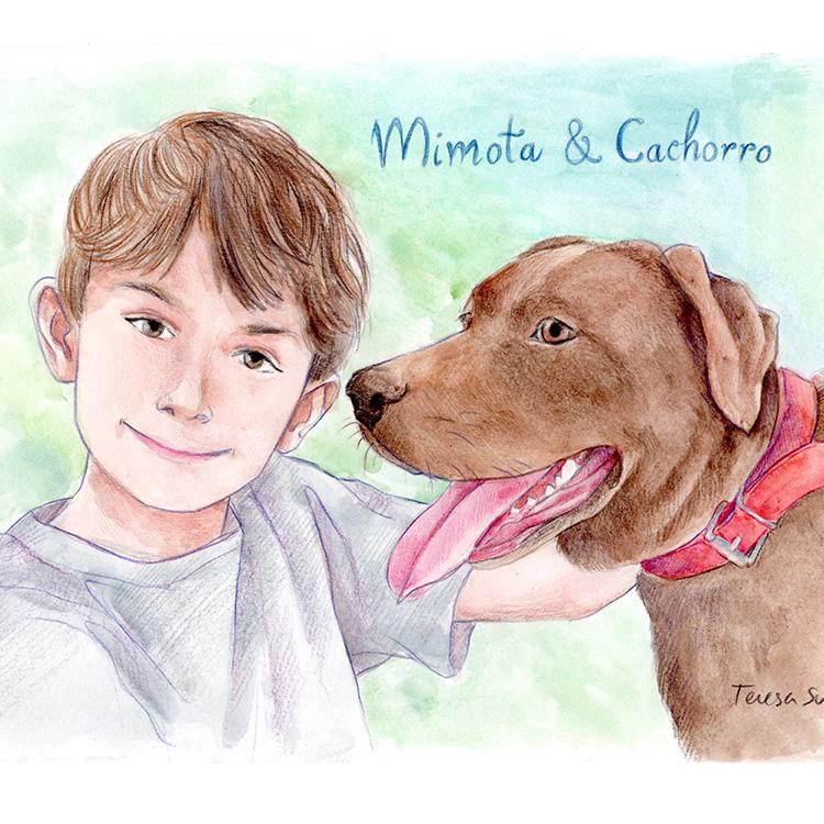 Retrato personalizado niño y perro